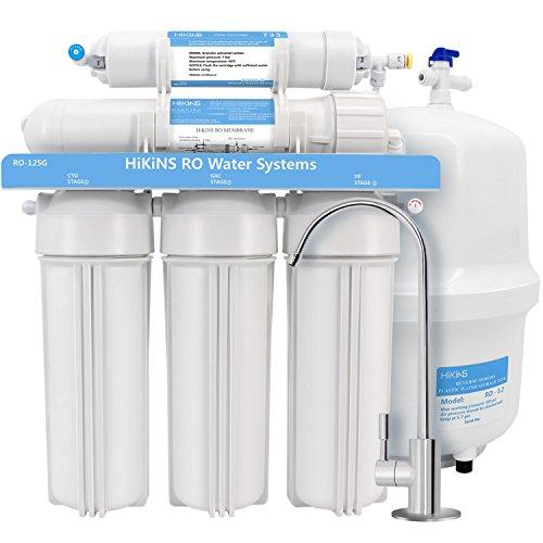 HiKiNS sistemi di filtraggio Acqua a osmosi inversa ro-125g Home Bere Ro Sistema a stadi con Grande Flusso 125 GPD Membrane e Risparmio di Acqua [Classe di efficienza energetica A+++]