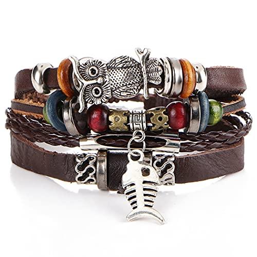 FunPa Pulsera multicapa moda vintage imitación cuero brazalete trenzado pulsera ligera fiesta suministros