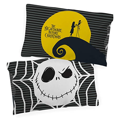 Jay Franco Disney Nightmare Before Christmas Yellow Moon Glow in The Dark 2 Pack Reversible Pillowcases Features Jack Skellington - Double-Sided Kids Super Soft Bedding (Official Disney Product)