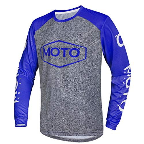 Wisdom Leaves Men's Mountain Bike Jersey Long Sleeve Downhill&Motocross Shirts Breathable/Moisture-Wicking T-Shirt Blue-Grey
