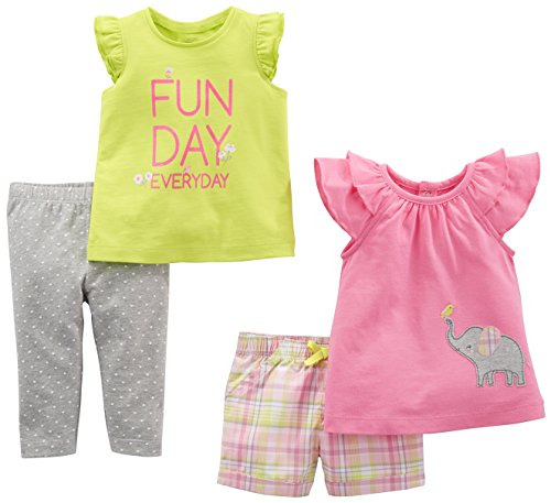 Simple Joys by Carter's Baby Girls' 4-Piece Playwear Set, Pink Elephant/Lime Plaid, 6-9 Months