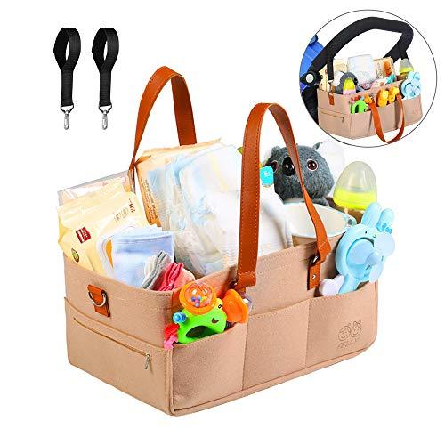 Felly Organizer voor baby's, met 2 haken voor de kinderwagen voor op reis, vilt, babyluier, caddy organizer, mand draagbaar, grote tas met uitneembare tussenschotten