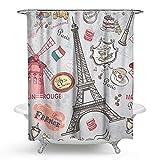 KISY Paris Eiffelturm Stoff Duschvorhang Windmühle Kuchen Badezimmer Dekor beschwerter Duschvorhang für Badewanne Dusche 182,9 x 182,9 cm Vintage