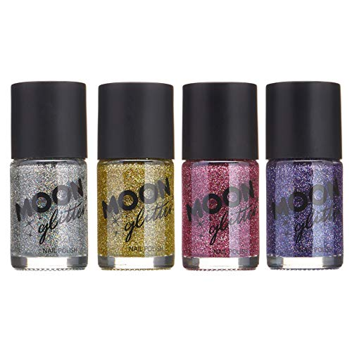 Holographic Glitter Nail Polish by Moon Glitter - 0.47fl oz - Set of 4 colours (Best Glitter Nail Polish Uk)