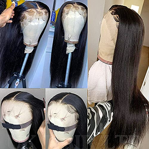 Straight Hair 20 inch Transparent Lace Front Wigs Human Hair 13x4 Pre Plucked Lace Front Human Hair Wigs for Black Women Virgin Straight Hair Lace Frontal wigs with Baby Hair 150% Density