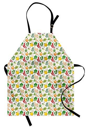 ABAKUHAUS Légume Tablier, Herbes épinards Persil, Produit Unisexe avec Col Réglable pour Cuisine et Jardinage, Multicolore