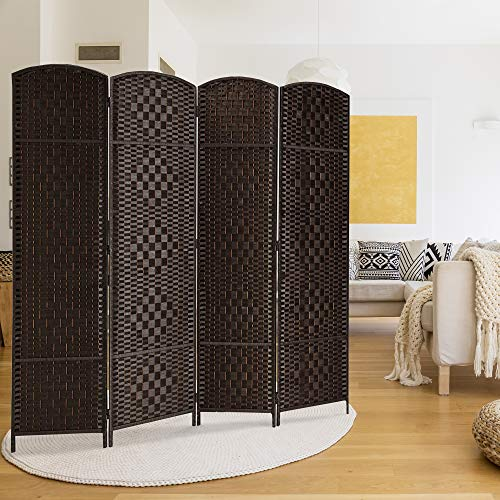 RHF 6 ft. Tall-Extra Wide-Diamond Weave Fiber Room Divider,Double Hinged,4 Panel Room Divider/Screen, Room Dividers and Folding Privacy Screens 4 Panel, Freestanding Room Dividers-Dark Coffee, 4 Panel