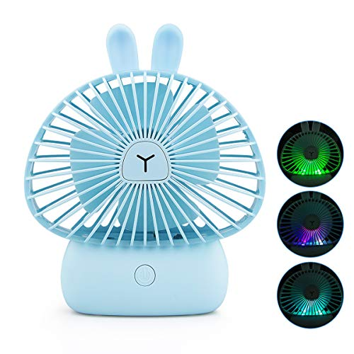 Welltop Mini Handheld Fan Dual Head Portable Folding Pocket Fan USB Rechargeable Personal Desk Fan for Home Office Travel 2 Speeds