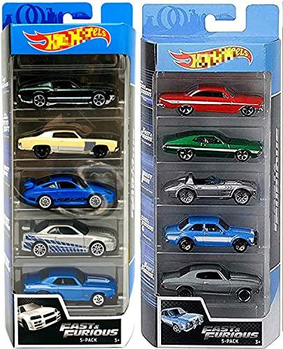 Kinderdag Gift Auto Speelgoed Hot Auto Wielen Drift 5 Fast & Furious Speed Race Set Gebundeld met Racing 10-Car Pack 2 items