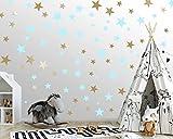 25 Sterne Wandtattoo fürs Kinderzimmer - Wandsticker Set - Pastell Farben, Baby Sternenhimmel zum Kleben Wandaufkleber Sticker Wanddeko - Kleinkinder, Erstausstattung auf Rauhfaser Türkis - Gold
