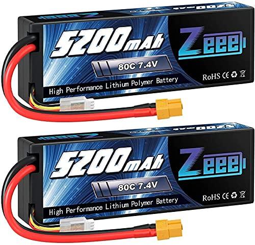 Zeee 2S lipo 7,4V 5200mAh 80C litio Batteria RC batteria Hard Case, con connectore XT60 spina, per RC Evader BX RC Veicolo Auto LKW Truggy RC Nave RC Modells RC Hobby (2 Batteria)