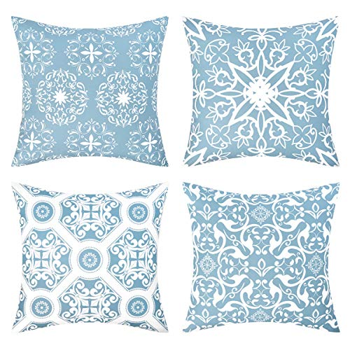 Fascidorm Throw Pillow Covers Vintage Mandala Floral Decorative Throw Pillow Case Cushion Case for Room Bedroom Room Sofa Chair Car, Light Blue and White, Set of 4, 18 x 18 Inch