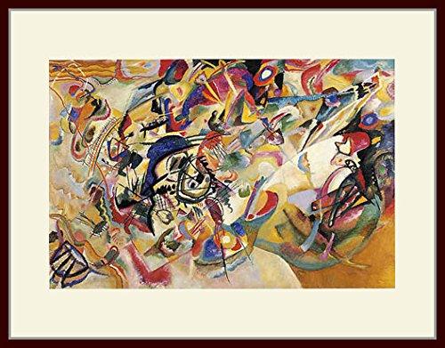 カンディンスキー・「コンポジション7」 プリキャンバス複製画・ 額付き(デッサン額/大衣サイズ)