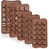 JOERSH Silicone Chocolate Candy Molds 5 Pack | Silicone Baking Molds for Cake, Brownie Topper, Hard...
