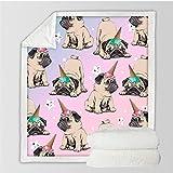 FEJK Hippie Mops Sherpa Decke auf dem Bett Tier Cartoon H& Plüsch Decke Decke Tagesdecke Weihnachten Bulldogge Sofabezug 150 * 200Cm