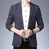 Classic Men Blazer Traje Traje De Rayas Jacket Casual Slim Fit Autumn Disfraz Homme (Color : Navy Blue, Size : XX-Large)