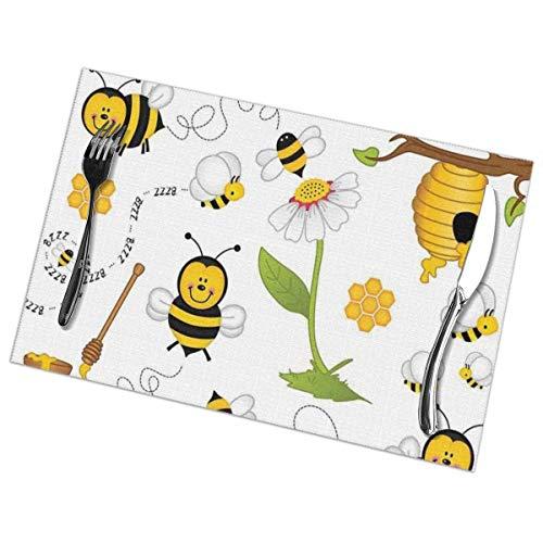 Jimbseo Flying Bees - Juego de 6 manteles Individuales con Estampado de Margaritas y Miel, Mantel Individual Lavable para Mesa de Comedor, para