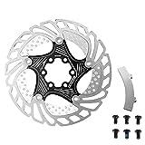 Edward Jackson 140MM 160MM 180MM 203mm Radfahren Schwimmkühl Rotor MTB Rennrad Kühler mit Brems Alignment Tool Fahrradzubehör (Color : Black, Size : 203mm)