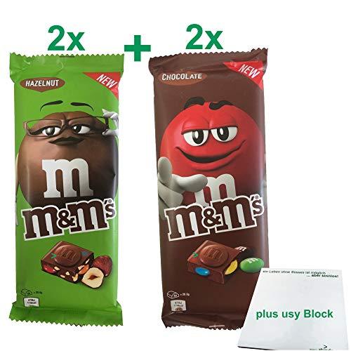 m&m's Schokoladentafel Testpaket mit 2x Chocolate & 2x Hazelnut à 165g Tafel + usy Block
