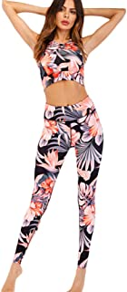 XFKLJ Sports Bra Yoga Pants Women's Suit Apparel Sports Gym Yoga Tracksuit Workout Activewear 2 Pieces Sportswear Flower T...