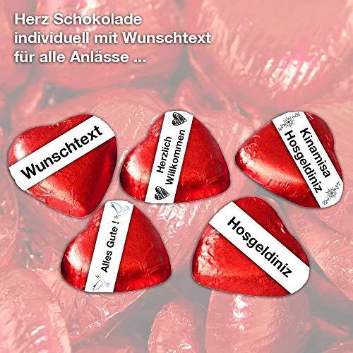 Schoko Herze individuell personalisiert mit eigenem Wunschtext Schoko Herzchen | Hochzeit - Party - Weihnachten - Valentinstag - Gastgeschenke - Deko - Schokolade - Feier - Besondere Anlässe uvm.