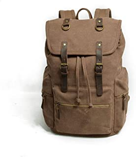 Leather Bag Mens Large Canvas Travel Duffel Bag Custom Waterproof Canvas Laptop Backpack Fashion Trend High Capacity (Color : Brown, Size : 28cm*15cm*43cm)
