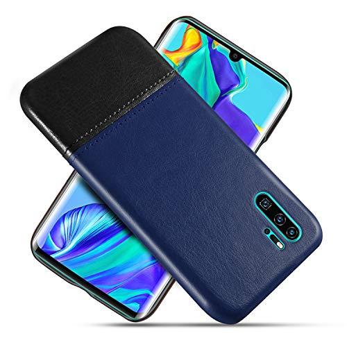 Suhctup Compatible con Huawei Mate 20 Lite Funda Cuero Calidad Ultrafina Estilosa Simple Empalme Estilo Carcasa de Piel Durable Antigolpes Antideslizante Protección Caso(Azul Negro)