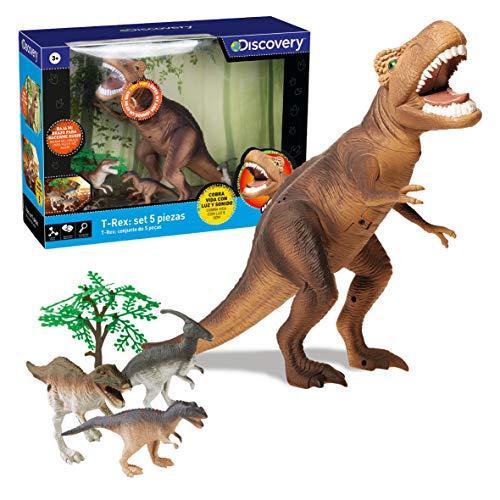 Discovery-T Set de 5 Piezas, Juego niños, Animales plastico, tiranosaurio, Dinosaurio Juguete,...