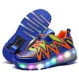 Unisex Led Luz Automática de Skate Zapatillas Patines en Línea con Ruedas Zapatos De Skate Aire Libre Gimnasia Trainers Zapatillas De Skateboa para Niños Niñas (Color : 2, Size : 36 EU)
