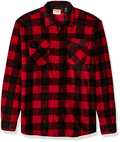 Wrangler Authentics Men's Long Sleeve Plaid Fleece Shirt, Red Buffalo, Medium