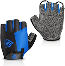 HTZPLOO Bike Gloves Cycling Gloves Mountain Bike Gloves for Men with Anti-slip Shock-absorbing Pad,Light Weight,Nice Fit,Half Finger Biking Gloves (Blue,Large)