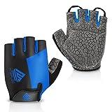 HTZPLOO Bike Gloves Cycling Gloves Mountain Bike Gloves for Men with Anti-Slip Shock-Absorbing Pad,Light Weight,Nice Fit,Half Finger Biking Gloves (Blue,Medium)