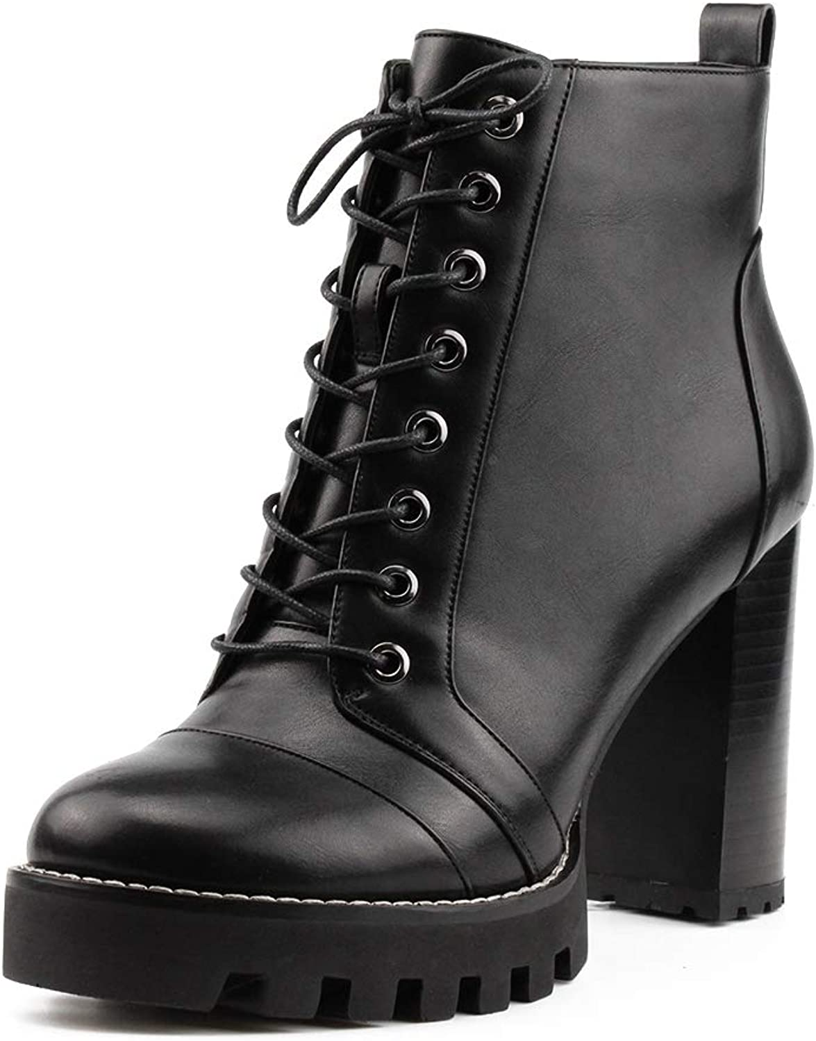 KingRover Women's Strap Buckle Block Round Toe Lace up Side Zipper Chunky Boots