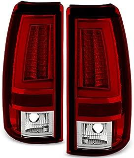 For 2003-2006 Silverado 05-07 Silverado Hybrid Pickup Truck Red Clear V2 LED Tail Lights Brake Lamps Pair