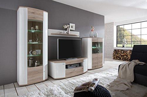 lifestyle4living Wohnzimmerschrank, Wohnwand, Schrankwand, Anbauwand, Fernsehwand, Wohnzimmerschrankwand, Wohnschrank, weiß, San Remo Eiche hell NB, Hochglanz