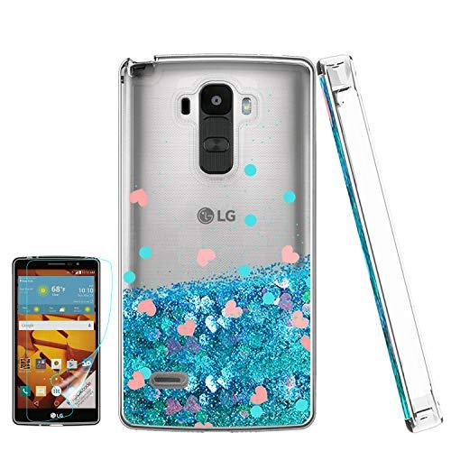 LG G Stylo Handy Hülle mit HD Bildschirmschutzfolie für Mädchen Frauen Luxus Glitzer Diamant Quicksand Klar TPU Schutzhülle für LG G Stylo, LG G Vista-2, LG G4 Stylus LS770, blau