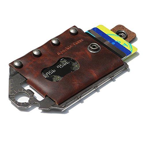 Sparkle Tmax Multi-Functional Metal Wallet Leather Tactical Wallet Multitool Wallet RFID Blocking Card Case Outdoor Wallet (Brown)