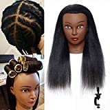 Mannequin Head with Human Hair-Doll Head for Hair Styling 100% Real Afro Human Hair 14 Inch Cosmetology Mannequin Practice Styling Braiding Coiling Curling Dyeing Perming Maniquins Head, with Stand