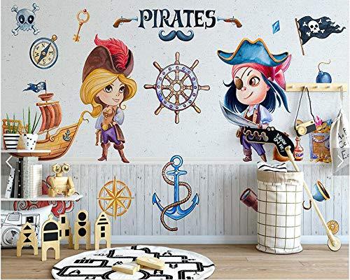 Wandaufkleber Benutzerdefinierte Kinder Tapete Einfache Cartoon Piraten Wandbild Wohnzimmer Kinderzimmer Sofa Hintergrund Wand Home Decoration Papier-300Cmx210Cm