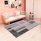 Alfombra moderna para salón (80 x 120 cm), para dormitorio, salón, de pelo corto y con cuadros grandes, ideal para interiores y salones, lavable (alfombra LPGFB15)