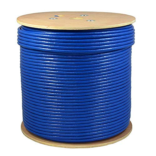 Dripstone 1000ft CAT6A 4/UTP Plenum (CMP Rated) UL Listed Bare Copper Solid 23AWG Conductor 750Mhz Fluke Tested Ethernet Wire (Blue)