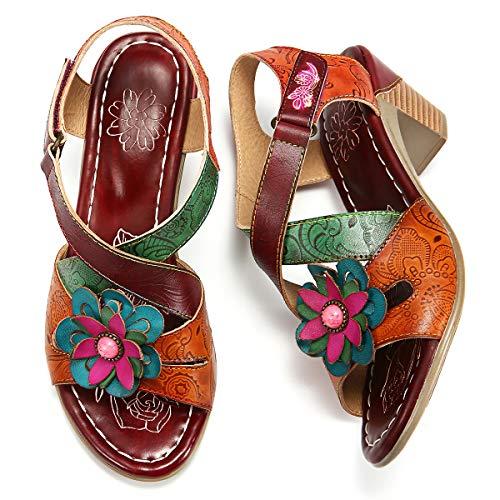 gracosy Sandalias Tacon Bajo Mujer Verano 2019 Confort Bohemio Zapatos de Fiesta al Aire Libre Sandalias para Caminar Moda Dedo del pie Abierto Sandalias Tacón de Bloque