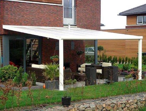 ALU Terrassenüberdachung 300 cm x 250 cm wahlweise in 3 Farben Montagefertig Überdachung Vordach Überdachung Aluminium Terrasse