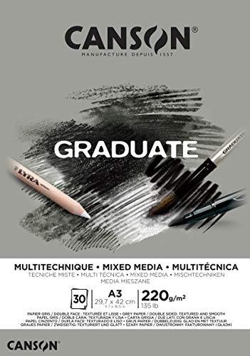 Bloc Encolado A3 30H Canson Graduate Mix Media Fino 220g Gris