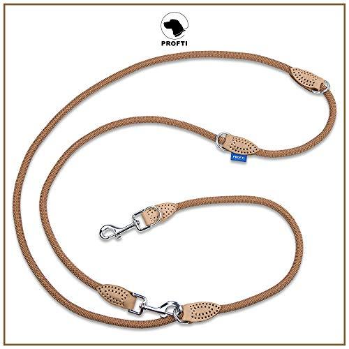 PROFTI Hundeleine aus Nylon, Lederelemente, 4fach verstellbar, große/kleine Hunde, 230cm lang, robust/schwer, Braun