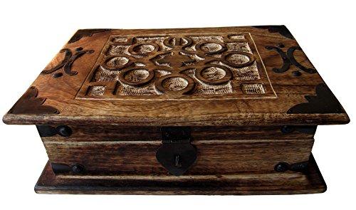 Schmuckschatulle Antik-Look Holzbox 26x18x9cm Schmuckkasten Massivholz Aufbewahrungsbox