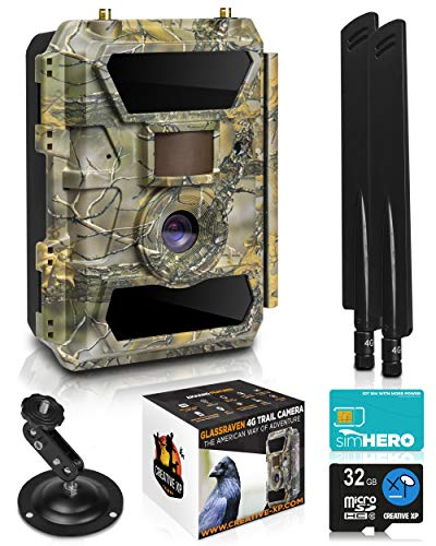 LTE 4G Cellular Trail Cameras - Outdoor WiFi Full HD Wild Game Camera with Night Vision for Deer Hunting, Security - Wireless Waterproof and Motion Activated - 32GB SD Card + Sim Card (1-Pack)