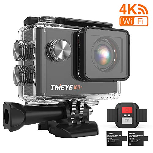 ThiEYE 4K 20 MP WiFi Action-Kamera Full HD wasserdicht Cam 198 m Unterwasser-Camcorder 170° Weitwinkel-Sportkamera mit Fernbedienung, 2 wiederaufladbare 1050 mAh Batterien und Montagezubehör-Kits