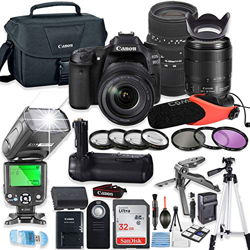 Great Features Of Canon EOS 80D DSLR Camera Bundle with Canon 18-135mm USM Lens & Sigma 70-300mm Len...