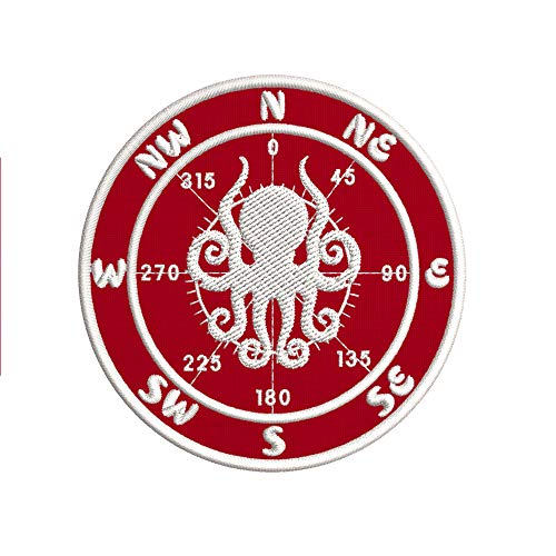 Compass w/Octopus Embroidered Premium Patch Iron-On or Sew-On Embroidery Applique - Color: Red - Nautical Sea Ocean Creatures Beach - Fun Novelty Badge Biker Emblem - Vacation Tourist Souvenir